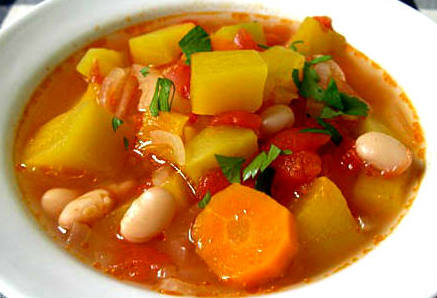 tomato soup with pumpkin and beans - recipe and photo